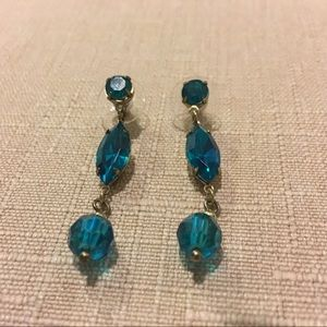 Blue crystal and bead earrings
